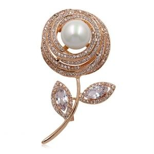 NWT Rose Large Flower Pearl Cubic Zirconia Pin